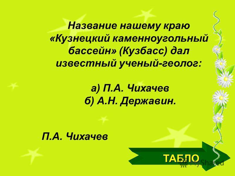 ТАБЛО Площадь Кемеровской области 95,5 тыс. кв.км.