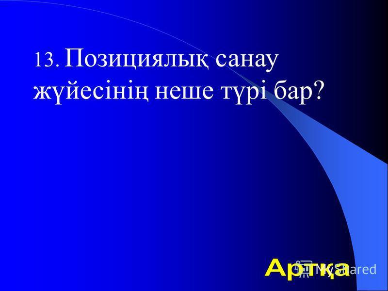 13. Позициялық санау жүйесінің неше түрі бар?