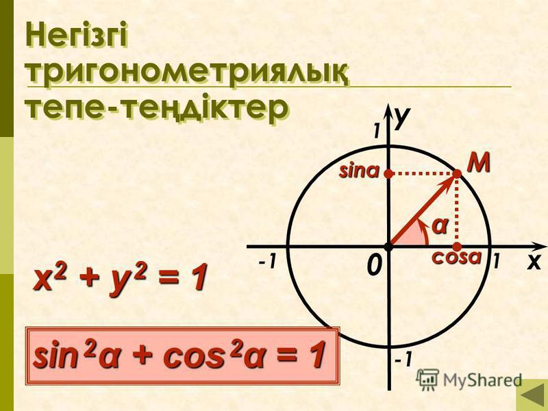 Негізгі тригонометриялы қ тепе-те ң діктер x 1 1 M 0 α sin 2 α + cos 2 α = 1 x 2 + y 2 = 1 y cosα sinα