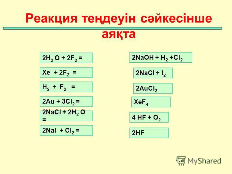 Реакция теңдеуін сәйкесінше аяқта Xe + 2F 2 = H 2 + F 2 = 2Au + 3Cl 2 = 2NaCl + 2H 2 O = 2NaI + Cl 2 = 2H 2 O + 2F 2 = 2NaOH + H 2 +Cl 2 2NaCl + I 2 XeF 4 4 HF + O 2 2HF 2AuCl 3