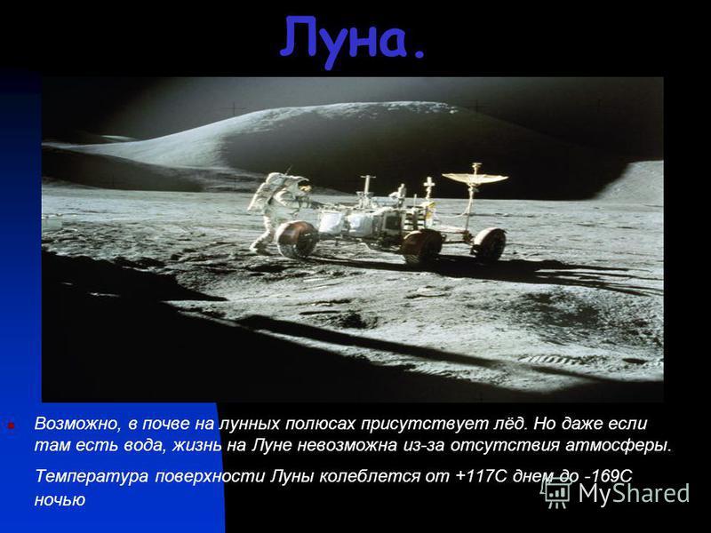 Луна. Возможно, в почве на лунных полюсах присутствует лёд. Но даже если там есть вода, жизнь на Луне невозможна из-за отсутствия атмосферы. Температура поверхности Луны колеблется от +117С днем до -169С ночью