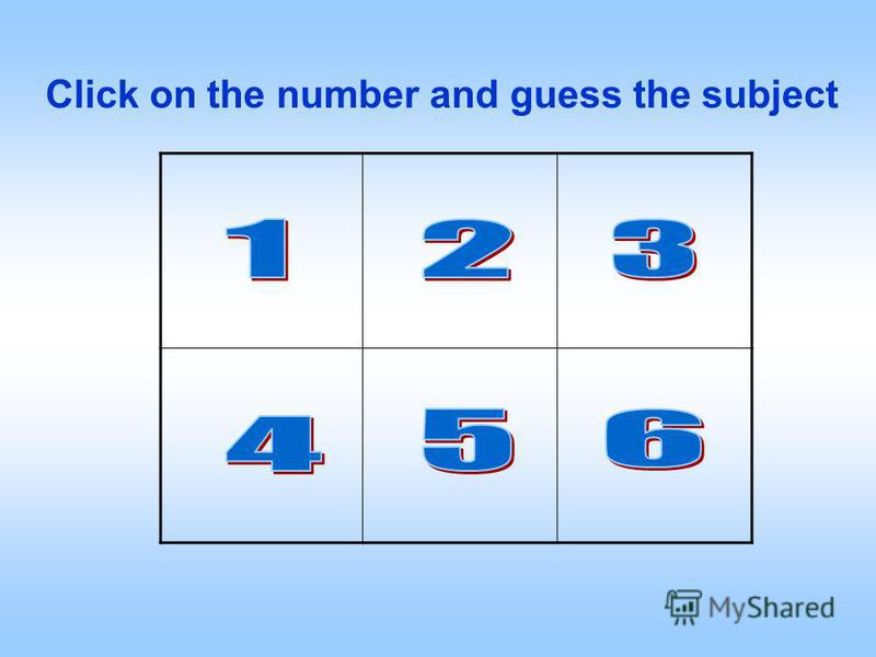 Click on the number and guess the subject
