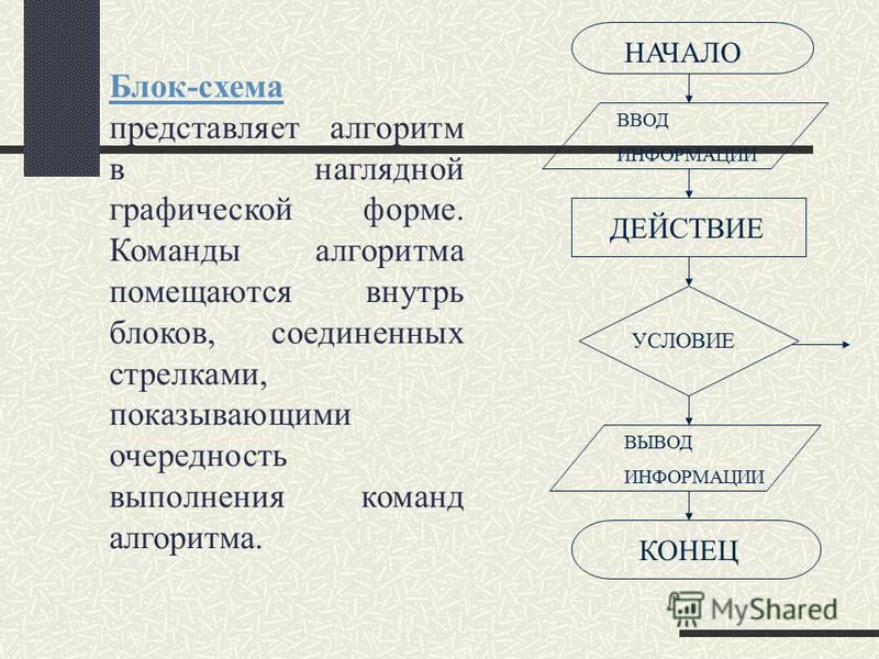Блок-схема Блок-схема представляет алгоритм в наглядной графической форме. Команды алгоритма помещаются внутрь блоков, соединенных стрелками, показывающими очередность выполнения команд алгоритма. НАЧАЛО ВВОД ИНФОРМАЦИИ ДЕЙСТВИЕ УСЛОВИЕ ВЫВОД ИНФОРМА