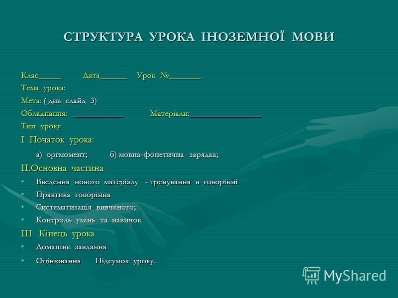 СТРУКТУРА УРОКА ІНОЗЕМНОЇ МОВИ Клас_____ Дата______ Урок _______ Тема урока: Мета: ( див слайд 3) Обладнання: ___________ Матеріали:________________ Тип уроку І Початок урока: а) оргмомент; б) мовна-фонетична зарядка; а) оргмомент; б) мовна-фонетична