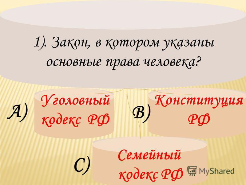 1). Закон, в котором указаны основные права человека? Уголовный кодекс РФ А) В) Конституция РФ С) Семейный кодекс РФ