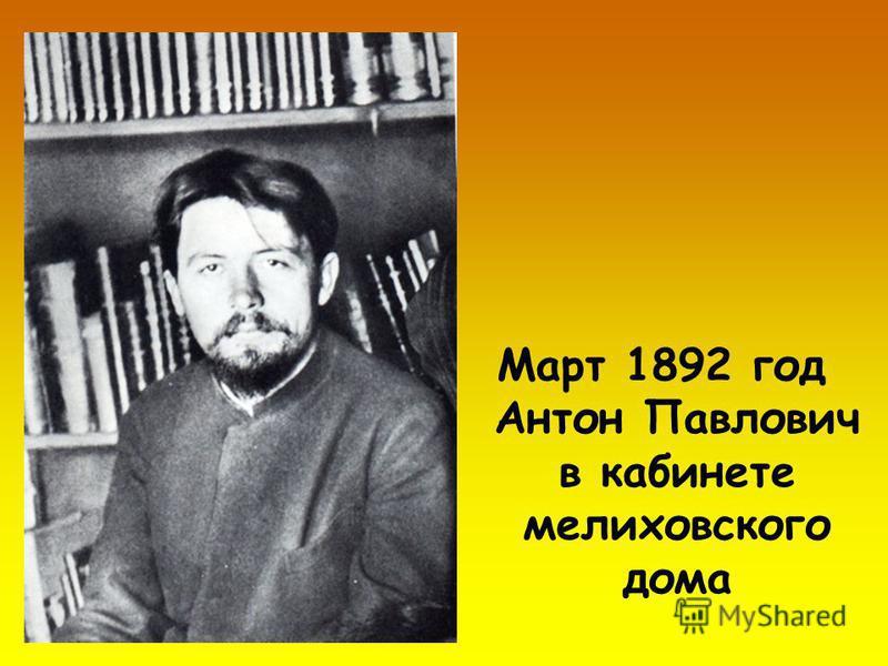 Март 1892 год Антон Павлович в кабинете мелиховского дома
