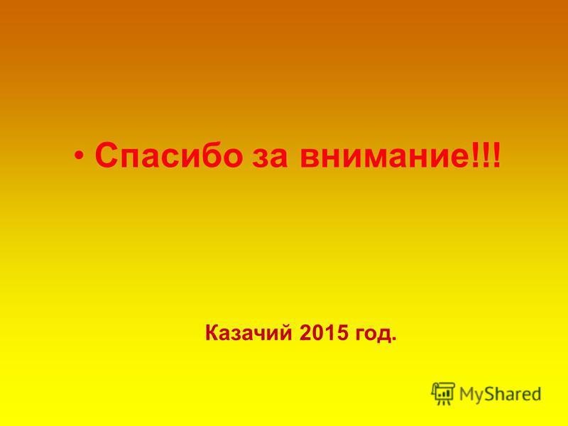 Спасибо за внимание!!! Казачий 2015 год.