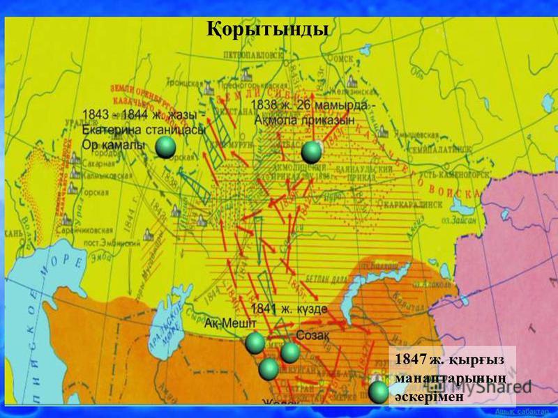 Ашық сабақтар 1847 ж. қырғыз манаптарының әскерімен Қорытынды