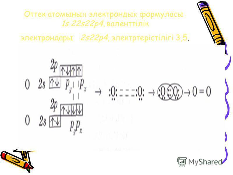 Оттек атомыны ң электронды қ формуласы 1s 22s22p4, валенттілік электрондары 2s22p4, электртерістілігі 3,5.