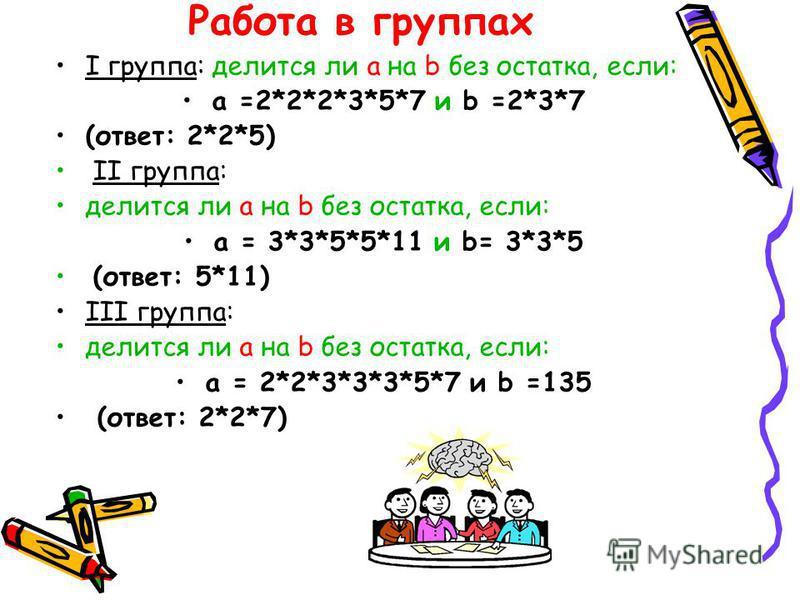 Работа в группах I группа: делится ли a на b без остатка, если: а =2*2*2*3*5*7 и b =2*3*7 (ответ: 2*2*5) II группа: делится ли a на b без остатка, если: а = 3*3*5*5*11 и b= 3*3*5 (ответ: 5*11) III группа: делится ли a на b без остатка, если: а = 2*2*