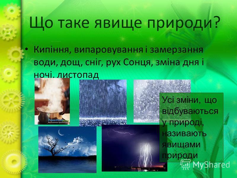 Що таке явище природи? Кипіння, випаровування і замерзання води, дощ, сніг, рух Сонця, зміна дня і ночі, листопад Усі зміни, що відбуваються у природі, називають явищами природи