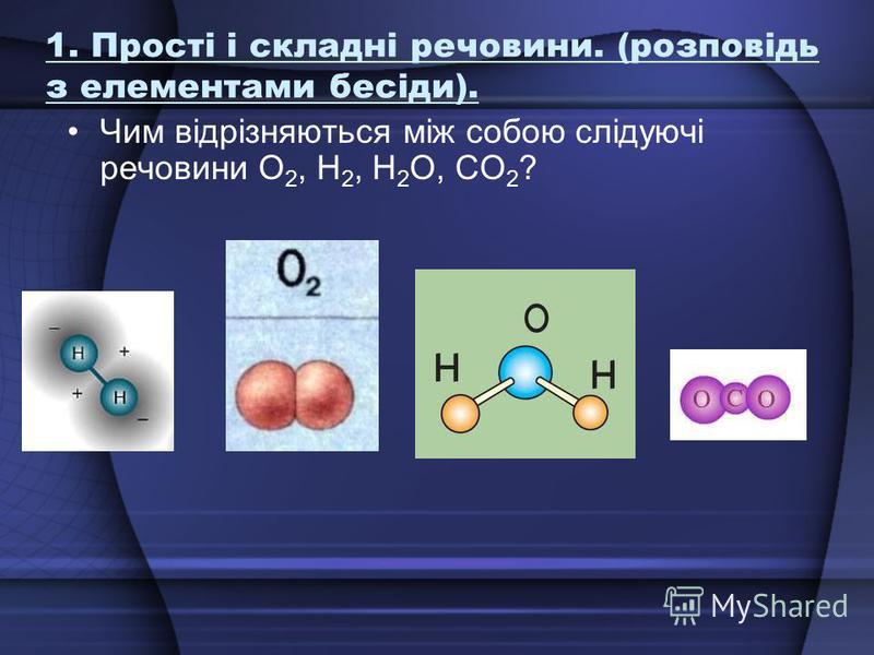 1. Прості і складні речовини. (розповідь з елементами бесіди). Чим відрізняються між собою слідуючі речовини О 2, Н 2, Н 2 О, СО 2 ?