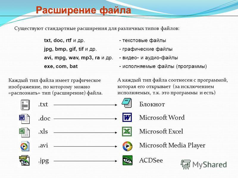 Расширение файла Существуют стандартные расширения для различных типов файлов: txt, doc, rtf и др.- текстовые файлы jpg, bmp, gif, tif и др.- графические файлы avi, mpg, wav, mp3, ra и др.- видео- и аудио-файлы exe, com, bat- исполняемые файлы (прогр