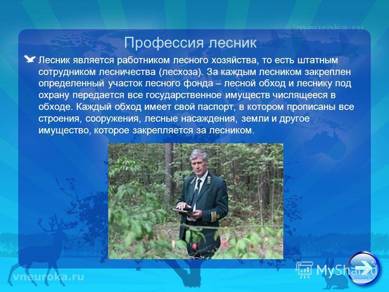 Профессия лесник Лесник является работником лесного хозяйства, то есть штатным сотрудником лесничества (лесхоза). За каждым лесником закреплен определенный участок лесного фонда – лесной обход и леснику под охрану передается все государственное имуще