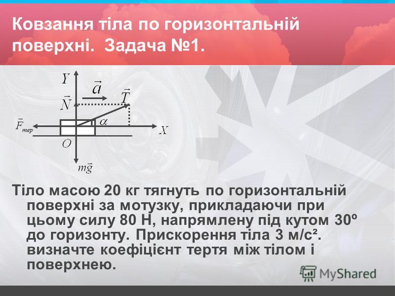 Ковзання тіла по горизонтальній поверхні. Задача 1. Тіло масою 20 кг тягнуть по горизонтальній поверхні за мотузку, прикладаючи при цьому силу 80 Н, напрямлену під кутом 30º до горизонту. Прискорення тіла 3 м/с ². визначте коефіцієнт тертя між тілом