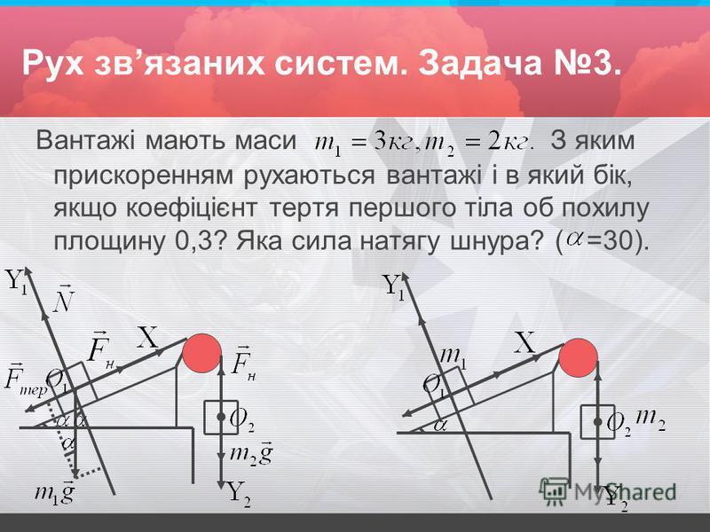 Рух звязаних систем. Задача 3. Вантажі мають маси З яким прискоренням рухаються вантажі і в який бік, якщо коефіцієнт тертя першого тіла об похилу площину 0,3? Яка сила натягу шнура? ( =30).