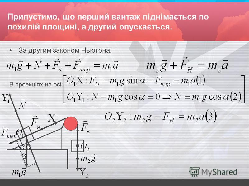Припустимо, що перший вантаж піднімається по похилій площині, а другий опускається. За другим законом Ньютона: В проекціях на осі: