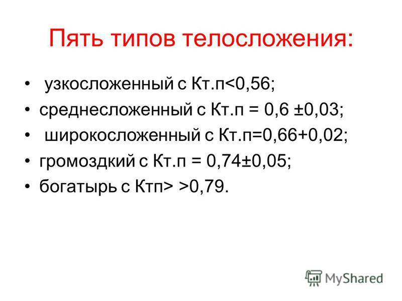 Пять типов телосложения: узкосложенный с Кт.п<0,56; средне сложенный с Кт.п = 0,6 ±0,03; широко сложенный с Кт.п=0,66+0,02; громоздкий с Кт.п = 0,74±0,05; богатырь с Ктп> >0,79.