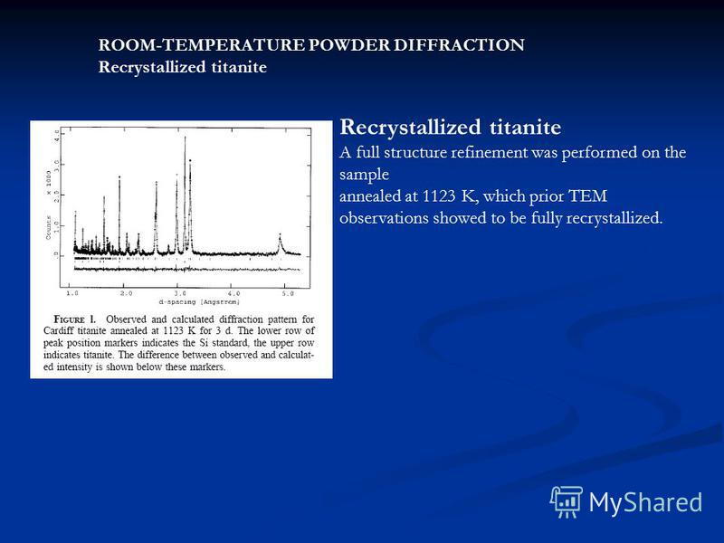 ROOM-TEMPERATURE POWDER DIFFRACTION Recrystallized titanite A full structure refinement was performed on the sample annealed at 1123 K, which prior TEM observations showed to be fully recrystallized.