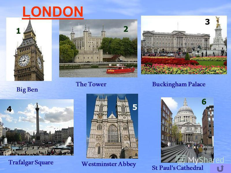 1 5 2 6 4 LONDON 3 Big Ben The TowerBuckingham Palace Trafalgar Square Westminster Abbey St Paul's Cathedral