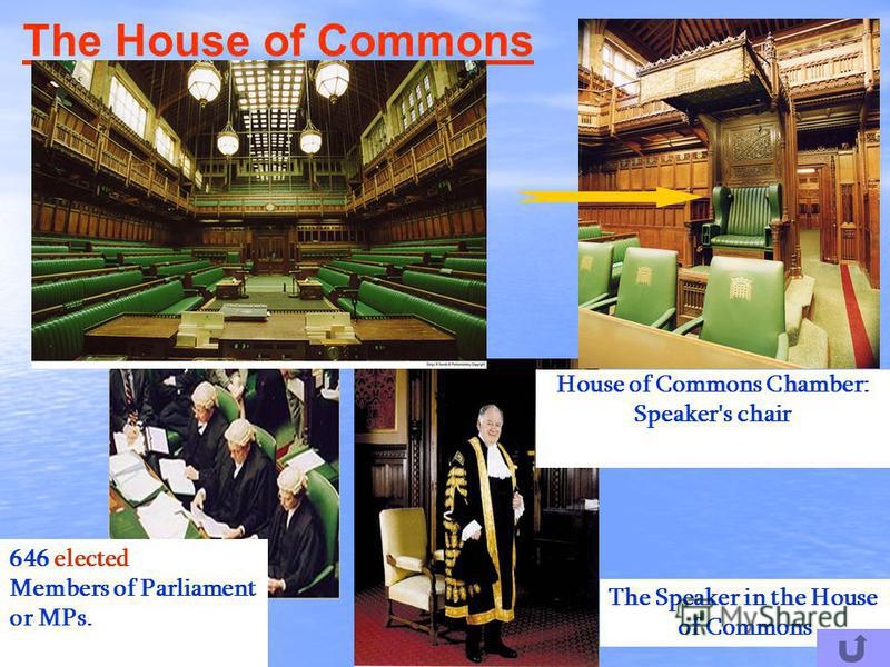 House of Commons Chamber: Speaker's chair The House of Commons 646 elected Members of Parliament or MPs. The Speaker in the House of Commons