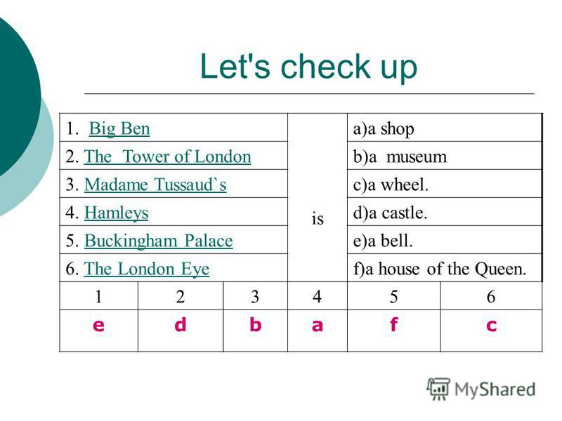 Let's check up 1. Big BenBig Ben is a)a shop 2. The Tower of LondonThe Tower of Londonb)a museum 3. Madame Tussaud`sMadame Tussaud`sc)a wheel. 4. HamleysHamleysd)a castle. 5. Buckingham PalaceBuckingham Palacee)a bell. 6. The London EyeThe London Eye