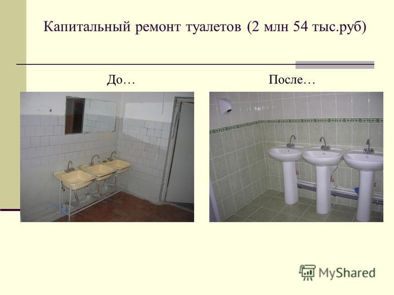 Капитальный ремонт туалетов (2 млн 54 тыс.руб) До…После…