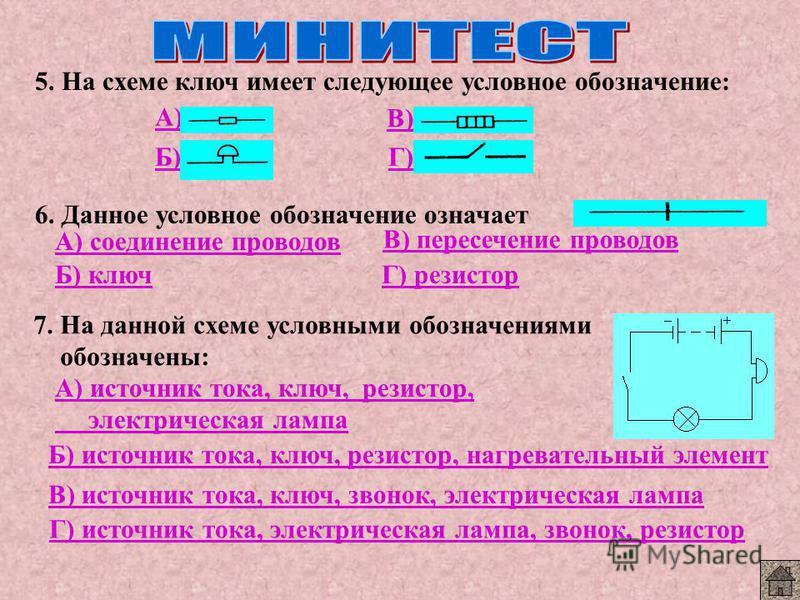 5. На схеме ключ имеет следующее условное обозначение: А) Б) В) Г) 6. Данное условное обозначение означает А) соединение проводов Б) ключ В) пересечение проводов Г) резистор 7. На данной схеме условными обозначениями обозначены: А) источник тока, клю