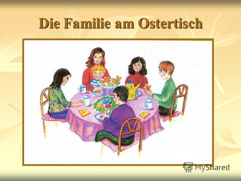 Die Familie am Ostertisch
