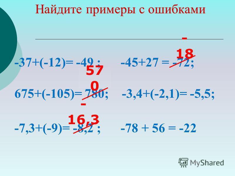 Найдите примеры с ошибками -37+(-12)= -49 ; -45+27 = -72; 675+(-105)= 780; -3,4+(-2,1)= -5,5; -7,3+(-9)= -8,2 ; -78 + 56 = -22 - 18 - 16,3 57 0