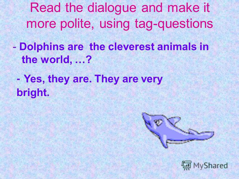 - Dolphins are the cleverest animals in the world, …? - Yes, they are. They are very bright. Read the dialogue and make it more polite, using tag-questions