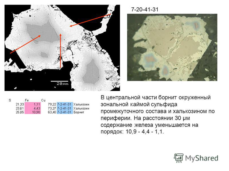 7-20-41-31 В центральной части борнит окруженный зональной каймой сульфида промежуточного состава и халькозином по периферии. На расстоянии 30 µм содержание железа уменьшается на порядок: 10,9 - 4,4 - 1,1.