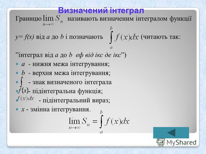 Визначений інтеграл Границю називають визначеним інтегралом функції у = f(x) від a до b і позначають ( читають так : інтеграл від a до b еф від ікс де ікс ) а - нижня межа інтегрування ; b - верхня межа інтегрування ; - знак визначеного інтеграла - п