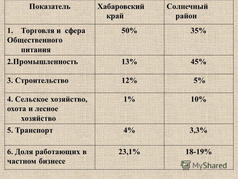 Показатель Хабаровский край Солнечный район 1. Торговля и сфера Общественного питания 50%35% 2.Промышленность 13%45% 3. Строительство 12% 5% 4. Сельское хозяйство, охота и лесное хозяйство 1%10% 5. Транспорт 4%3,3% 6. Доля работающих в частном бизнес