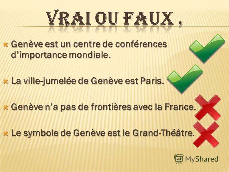 Genève est un centre de conférences dimportance mondiale. Genève est un centre de conférences dimportance mondiale. La ville-jumelée de Genève est Paris. La ville-jumelée de Genève est Paris. Genève na pas de frontières avec la France. Genève na pas