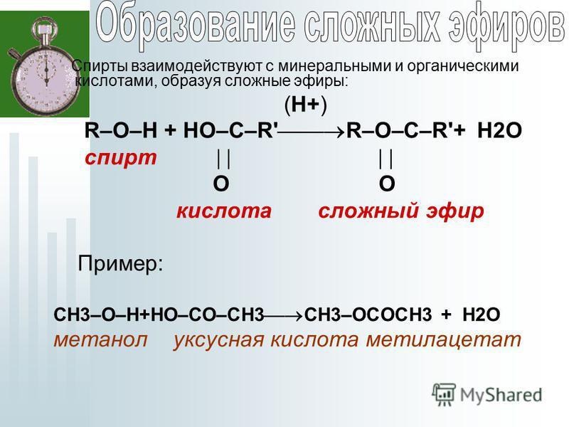 Спирты взаимодействуют с минеральными и органическими кислотами, образуя сложные эфиры: (H+) R–O–H + HO–C–R' R–O–C–R'+ H2O спирт O O кислота сложный эфир Пример: CH3–O–H+HO–СO–CH3 CH3–OСOCH3 + H2O метанол уксусная кислота метилацетат