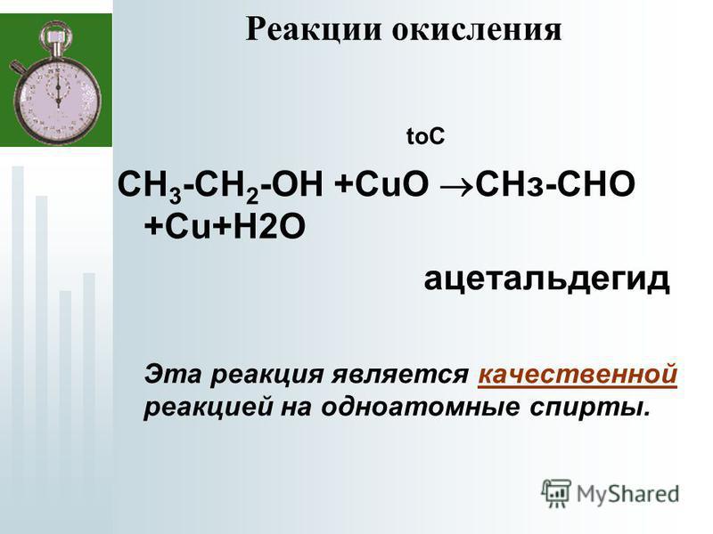 Реакции окисления toC СН 3 -СН 2 -ОН +СuО СНз-СНО +Cu+Н2О ацетальдегид Эта реакция является качественной реакцией на одноатомные спирты.