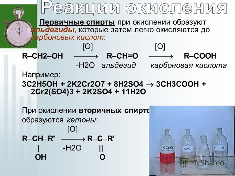 Первичные спирты при окислении образуют альдегиды, которые затем легко окисляются до карбоновых кислот: [O] [O] R–СН2–OH R–СН=O R–СOOH -H2O альдегид карбоновая кислота Например: 3C2H5OH + 2K2Cr2O7 + 8H2SO4 3CH3COOH + 2Cr2(SO4)3 + 2K2SO4 + 11H2O При о