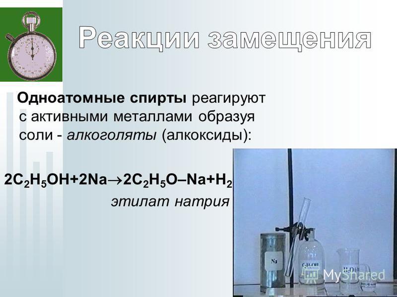 Одноатомные спирты реагируют с активными металлами образуя соли - алкоголяты (алкоксиды): 2C 2 H 5 OH+2Na 2C 2 H 5 O–Na+H 2 этилат натрия