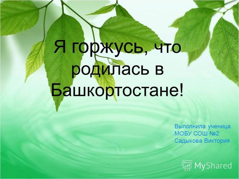 Выполнила ученица МОБУ СОШ 2 Садыкова Виктория Я горжусь, что родилась в Башкортостане!