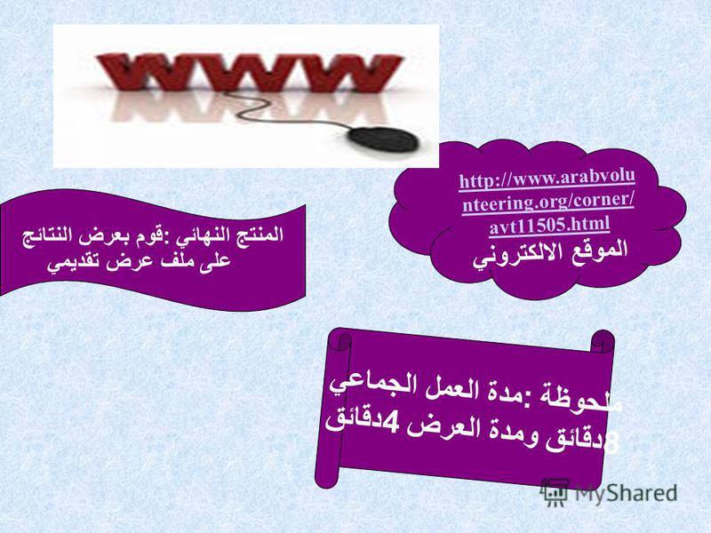 المنتج النهائي : قوم بعرض النتائج على ملف عرض تقديمي http://www.arabvolu nteering.org/corner/ avt11505.html الموقع الالكتروني ملحوظة : مدة العمل الجماعي 8 دقائق ومدة العرض 4 دقائق