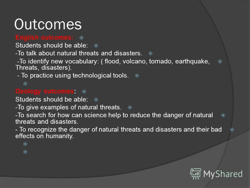 المعلم : خالد محمد بكري الدرس : الكوارث الطبيعية الصف : الأول الثانوي مقدم إلى المدربة الفاضلة : منى البطانية