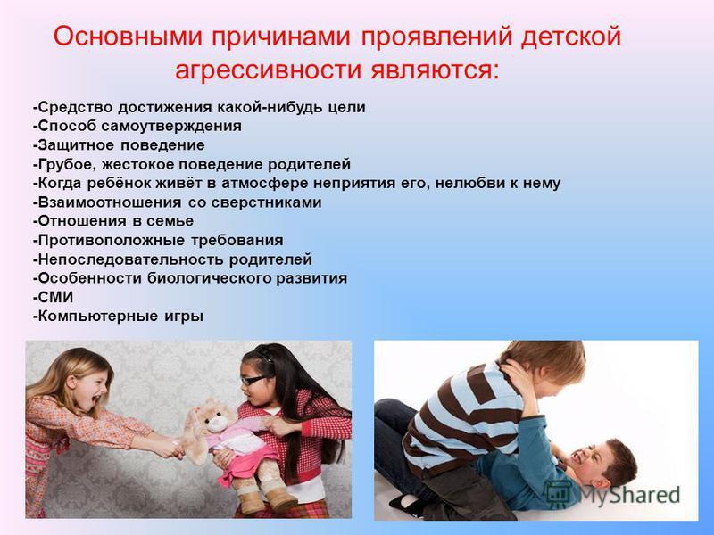 -Средство достижения какой-нибудь цели -Способ самоутверждения -Защитное поведение -Грубое, жестокое поведение родителей -Когда ребёнок живёт в атмосфере неприятия его, нелюбви к нему -Взаимоотношения со сверстниками -Отношения в семье -Противоположн