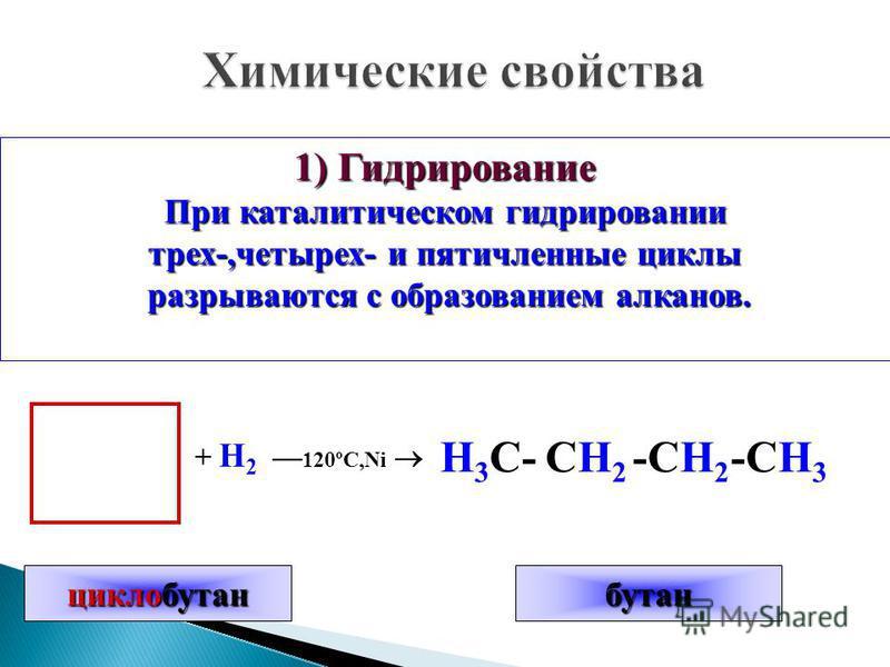 1) Гидрирование При каталитическом гидрировании трех-,четырех- и пятичленные циклы разрываются с образованием алканов. разрываются с образованием алканов. + H 2 –– 120ºC,Ni Н 3 С-СH2СH2 -СH2-СH2 -СH3-СH3 циклобутан бутан