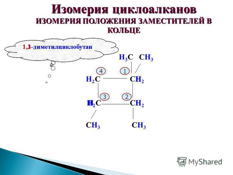 Изомерия циклоалканов ИЗОМЕРИЯ ПОЛОЖЕНИЯ ЗАМЕСТИТЕЛЕЙ В КОЛЬЦЕ С СС С H3СH3ССH3СH3 1,1-диметилциклобутан 4 32 1 СH3СH3 СH3СH3 H2H2 HH2H2 1,2-диметилциклобутан HH2H2 H H2H2 1,3-диметилциклобутан H