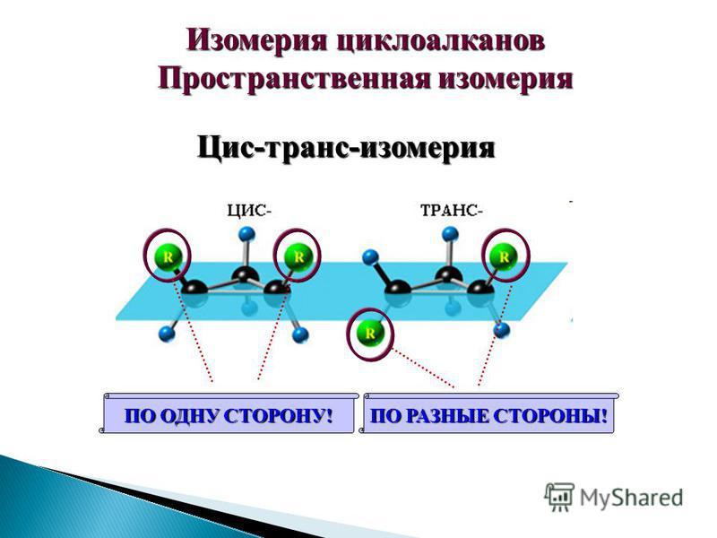Изомерия циклоалканов Пространственная изомерия Цис-транс-изомерия ПО ОДНУ СТОРОНУ! ПО РАЗНЫЕ СТОРОНЫ!