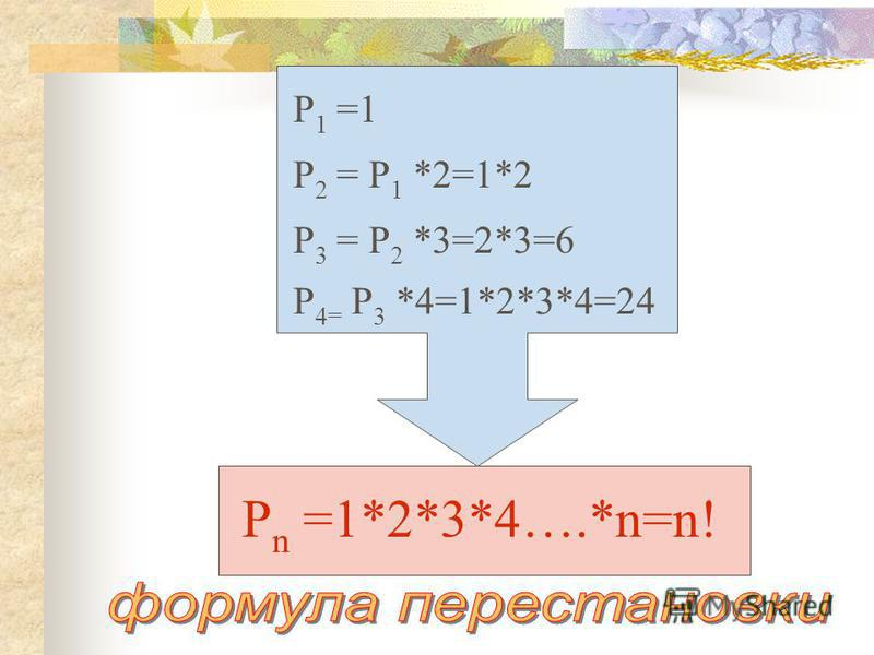 Р 2 = Р 1 *2=1*2 Р 3 = Р 2 *3=2*3=6 Р 4= Р 3 *4=1*2*3*4=24 Р n =1*2*3*4….*n=n! Р 1 =1