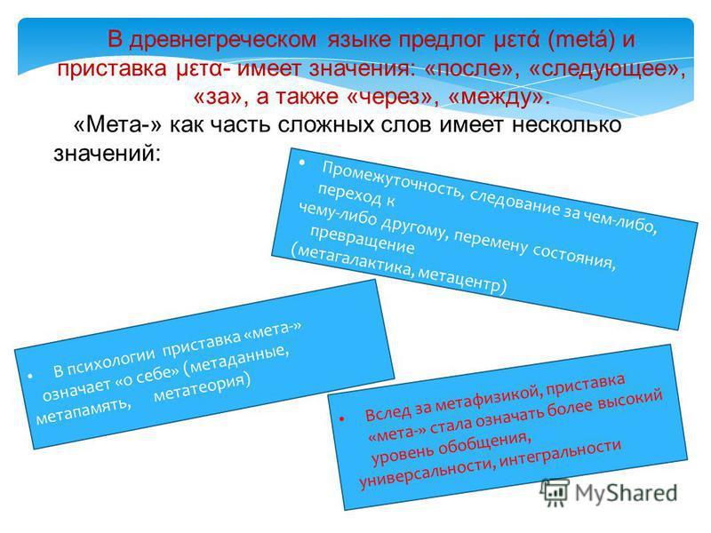 В древнегреческом языке предлог μετά (metá) и приставка μετα- имеет значения: «после», «следующее», «за», а также «через», «между». «Мета-» как часть сложных слов имеет несколько значений: Вслед за метафизикой, приставка «мета-» стала означать более