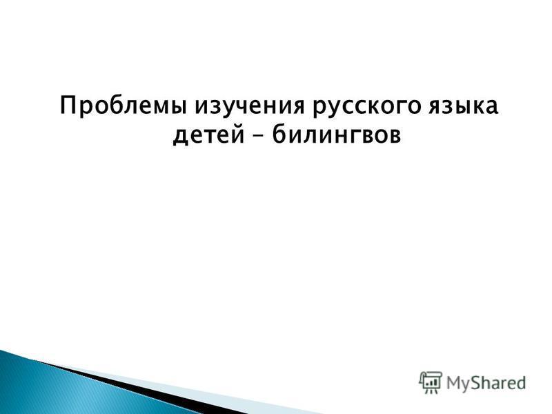 Проблемы изучения русского языка детей – билингвов