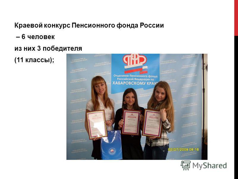 Краевой конкурс Пенсионного фонда России – 6 человек из них 3 победителя (11 классы);